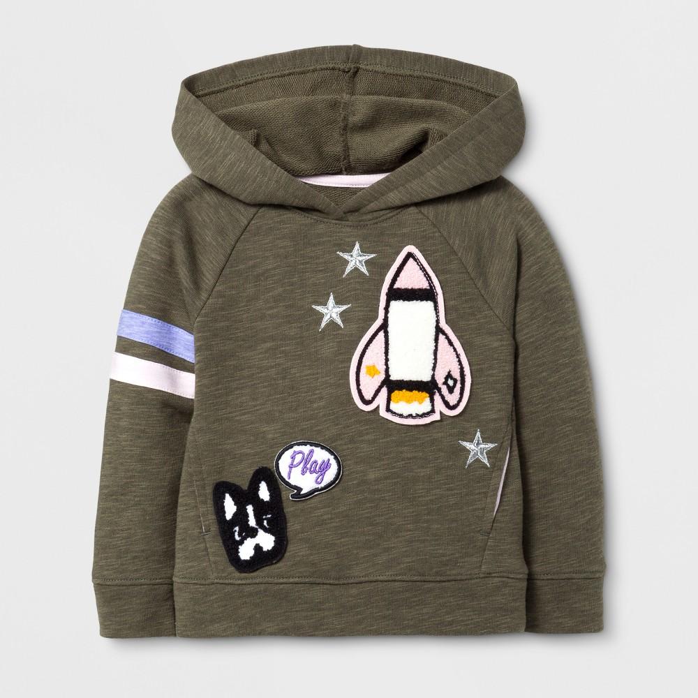 Toddler Girls Long Sleeve Sweatshirt - Cat & Jack Spring Olive 2T, Green