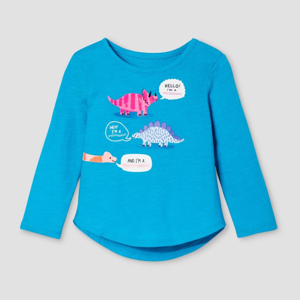 Toddler Girls Long Sleeve T-Shirt - Cat & Jack Panama Blue 18M, Size: 18 M