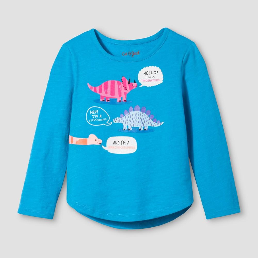 Toddler Girls Long Sleeve T-Shirt - Cat & Jack Panama Blue 2T