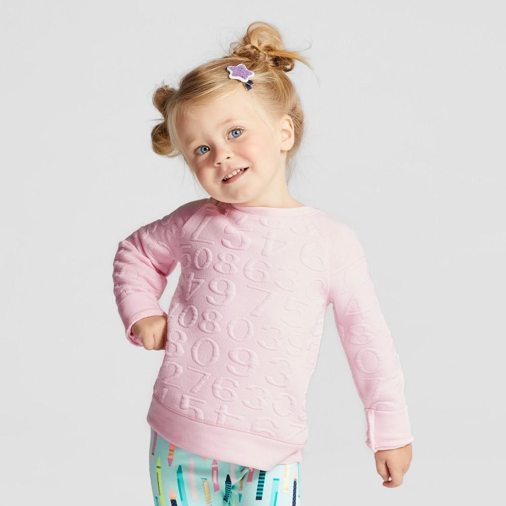 Toddler Girls Long Sleeve Sweatshirt - Cat & Jack Cherry Cream 5T, Pink