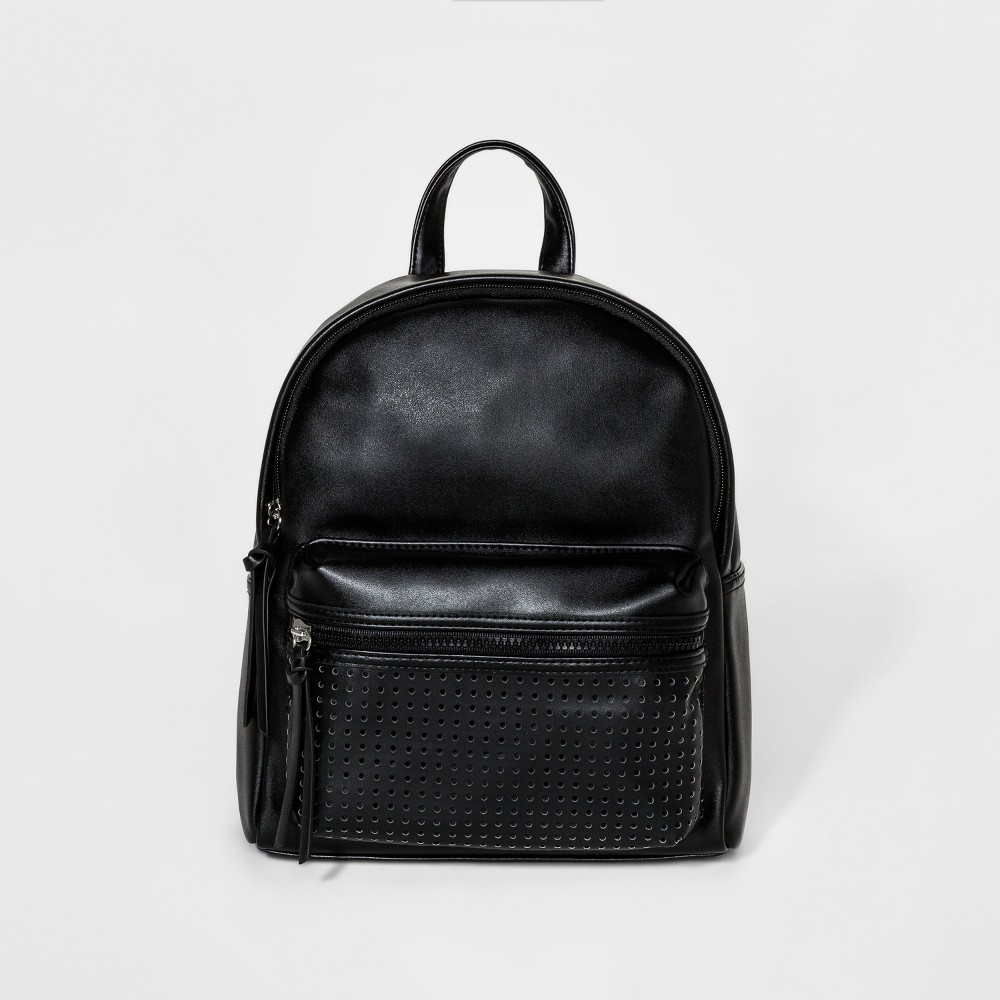 Womens Mini Backpack with Laser Cut Front Pocket - Mossimo Supply Co. Black