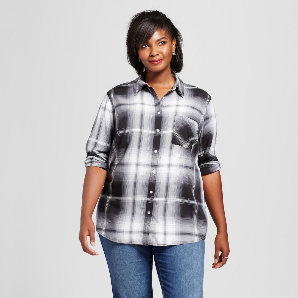 Womens Plus Size Button Down Plaid Shirt - Ava & Viv Black/White 3X