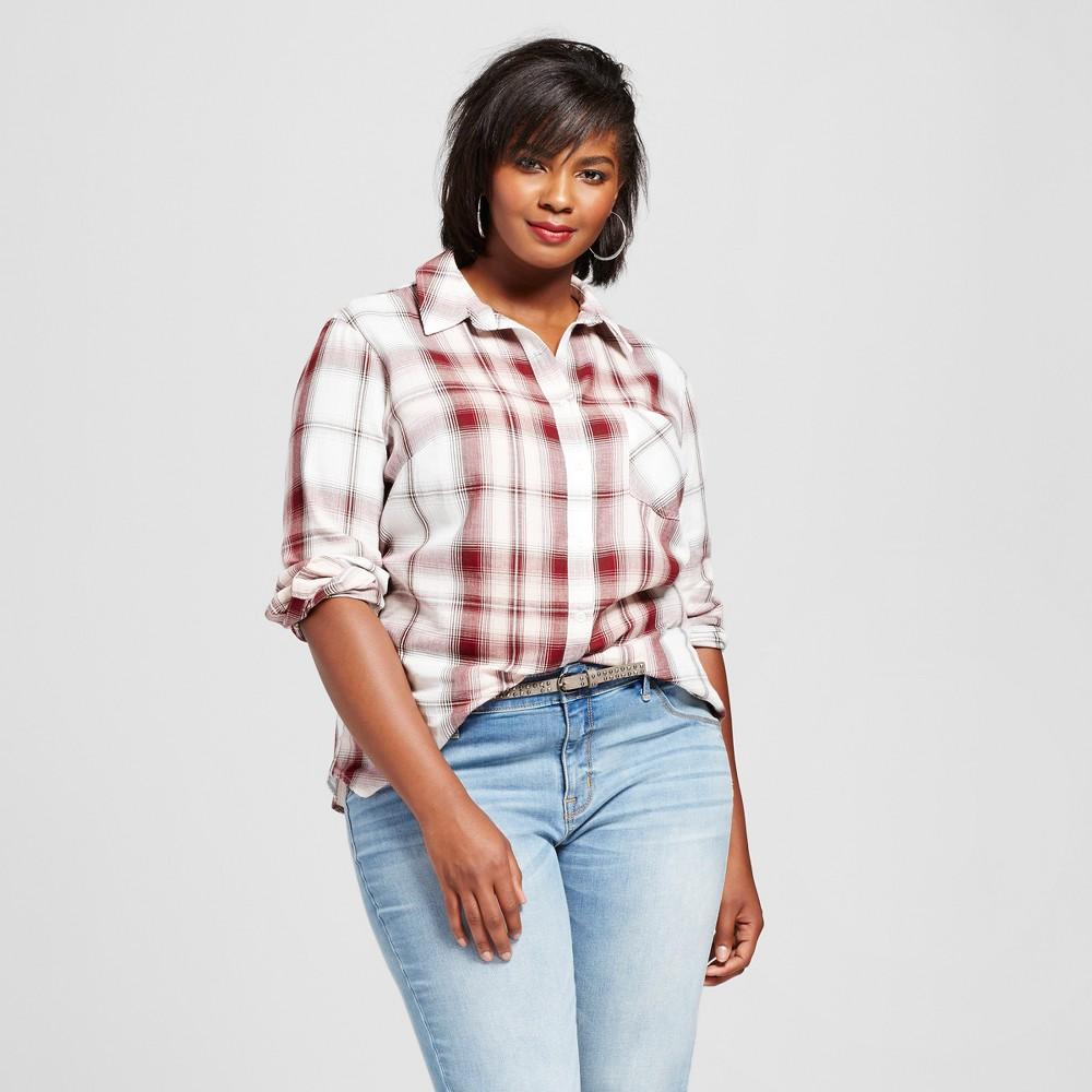 Womens Plus Size Button Down Plaid Shirt - Ava & Viv Blush X, Pink