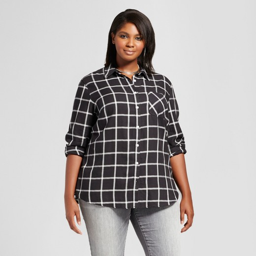 Women 39 s plus size button down plaid shirt ava viv for Women s plus size plaid shirts