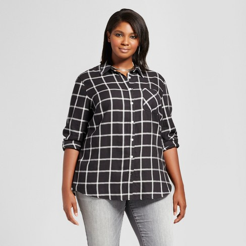 Women 39 s plus size button down plaid shirt ava viv for Women s stewart plaid shirt