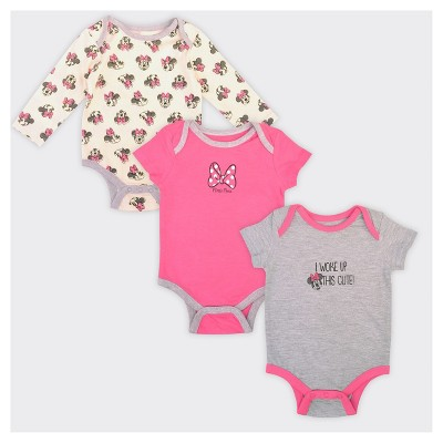 Baby Girls' Minnie Mouse 3pk Woke Up Cute Bodysuit Set - 6-9M