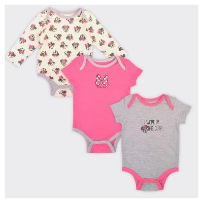 Baby Girls' Minnie Mouse 3pk Woke Up Cute Bodysuit Set - 6-9M