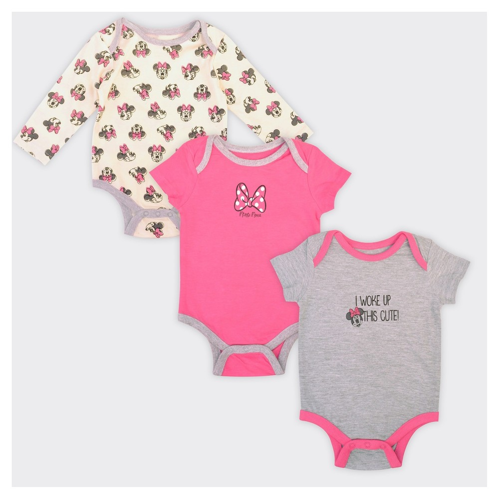 Baby Girls Minnie Mouse 3pk Woke Up Cute Onesie Set - 6-9M, Size: 6-9 M, Multicolored