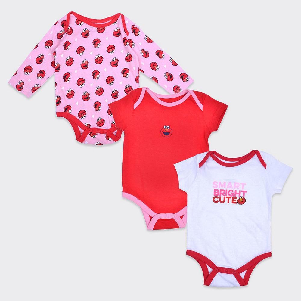 Boys Sesame Street Elmo 3-Pack Onesie Set - Pink/White/Red 6-9M, Size: 6-9 M, Multicolored