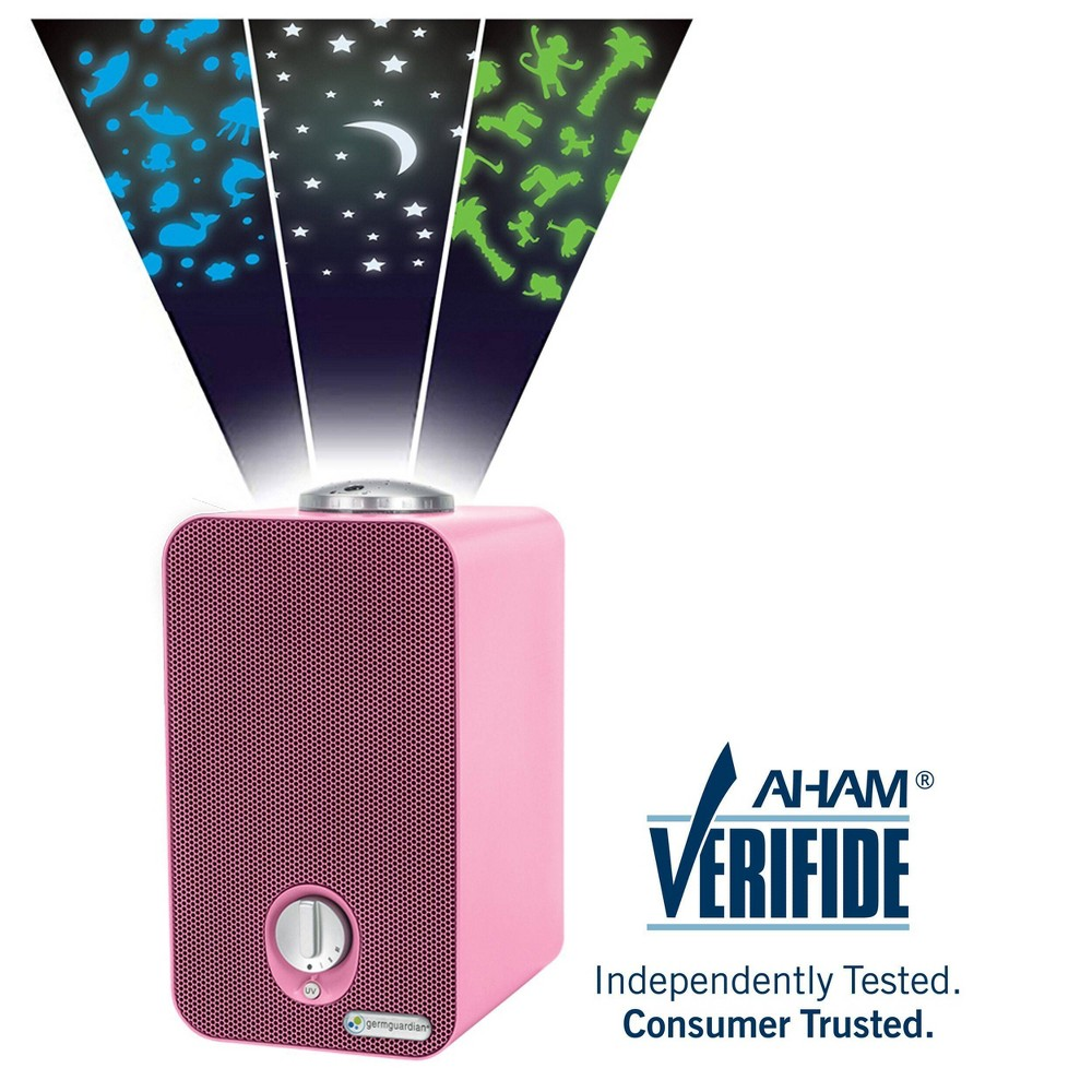 Germ Guardian Tabletop Tower 4-in-1 Night-Night Hepa Projector Air Purifier AC4150PCA, Light Pink