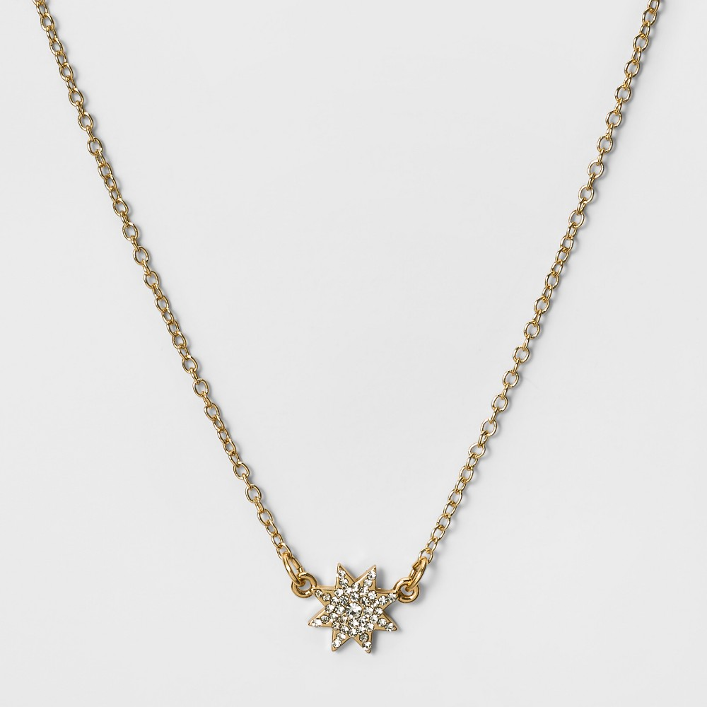 Womens Short Necklace with Hanging Pave Star - Gold/Clear (16)