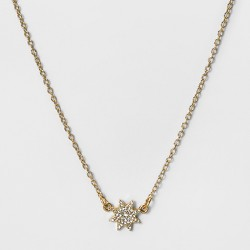 Women's Short Necklace with Hanging Pave Star - Gold/Clear (16')