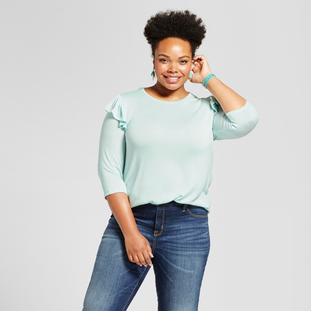 Womens Plus Size Ruffle Shoulder T-Shirt - Ava & Viv Light Blue 1X
