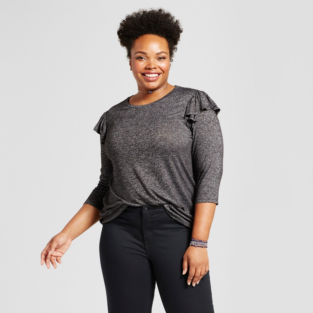 Womens Plus Size Ruffle Shoulder T-Shirt - Ava & Viv Charcoal (Grey) 3X