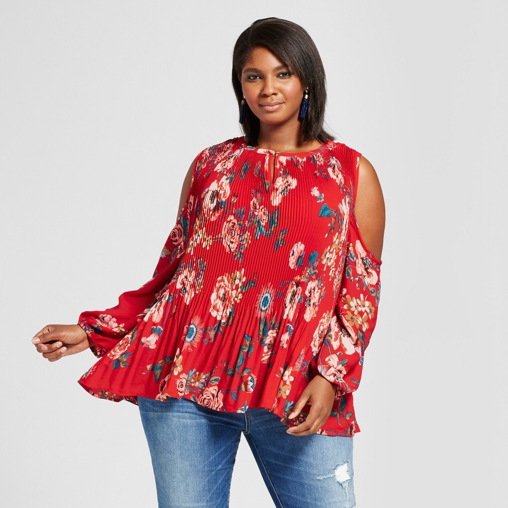 Womens Plus Size Pleated Floral Cold Shoulder Top - Ava & Viv Red 1X