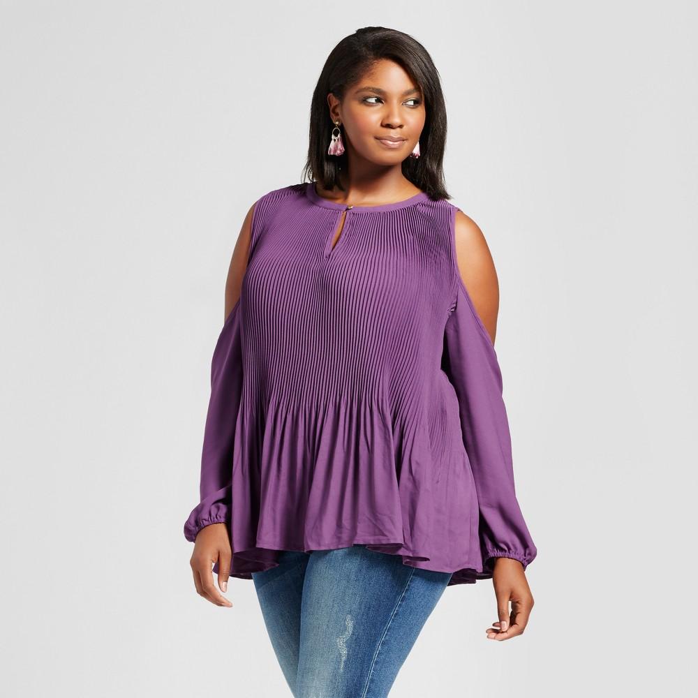 Womens Plus Size Pleated Cold Shoulder Top - Ava & Viv Purple X