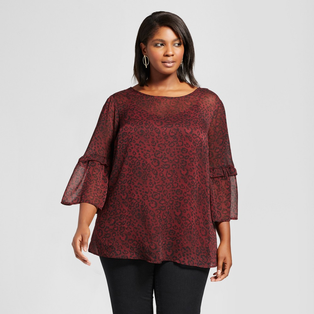 Womens Plus Size Bell Sleeve Leopard Top - Ava & Viv Burgundy 3X, Red