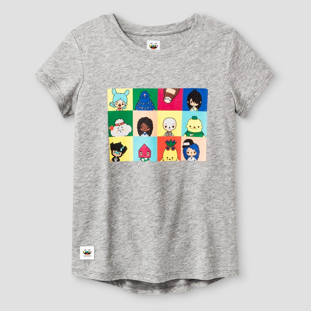 Girls Toca Boca Short Sleeve T-Shirt - Heather Gray S