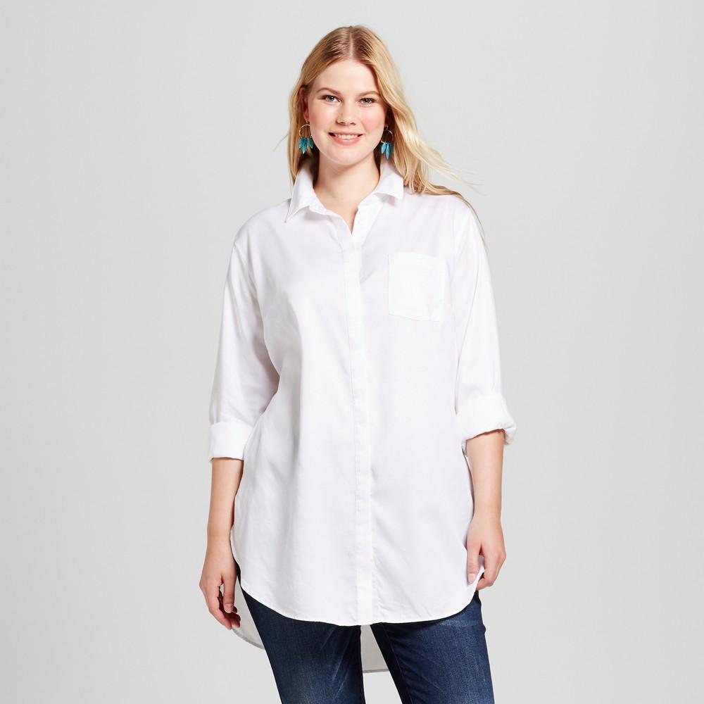 Womens Plus Size Tencel Button Down Tunic - Ava & Viv White X