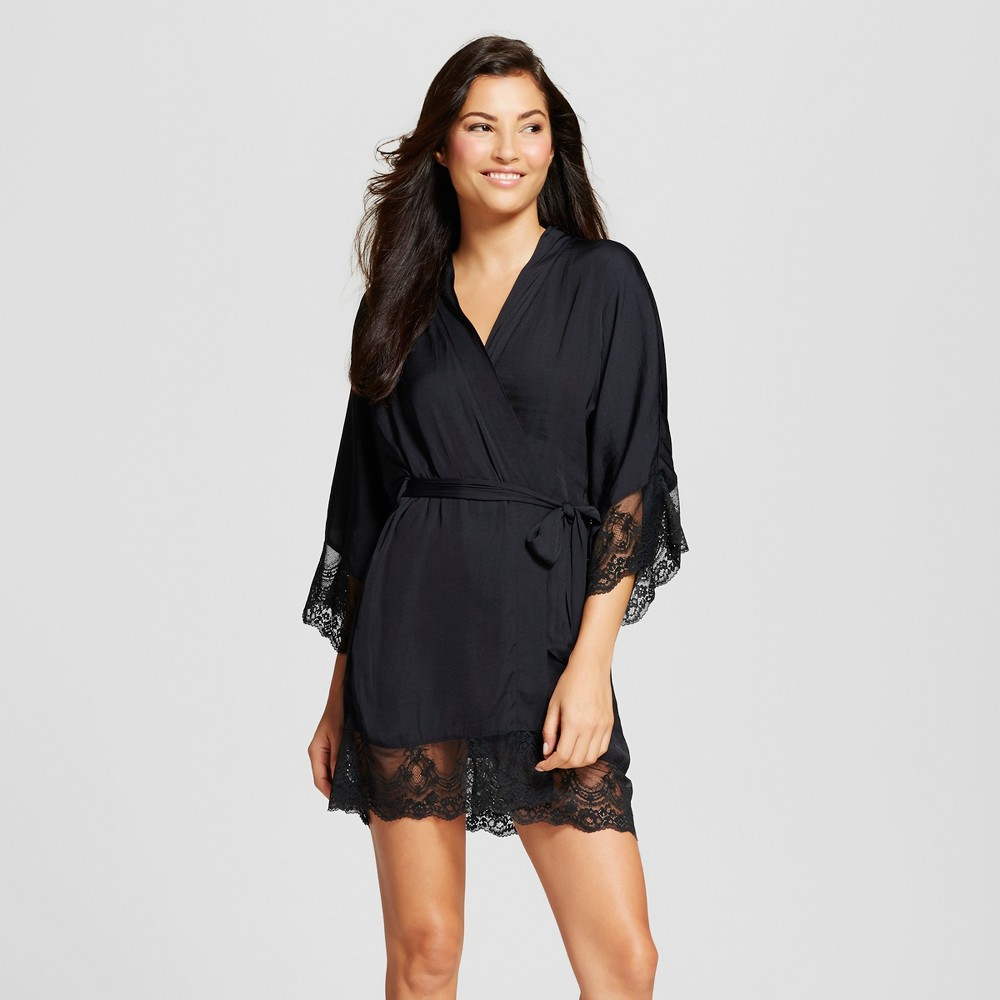 Women's Robe with Lace Black XS/S