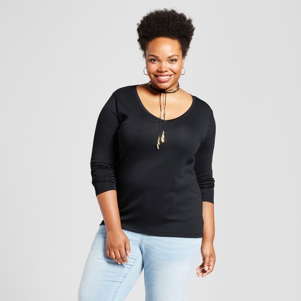 Womens Plus Size Long Sleeve V-Neck T-Shirt - Ava & Viv Black 2X