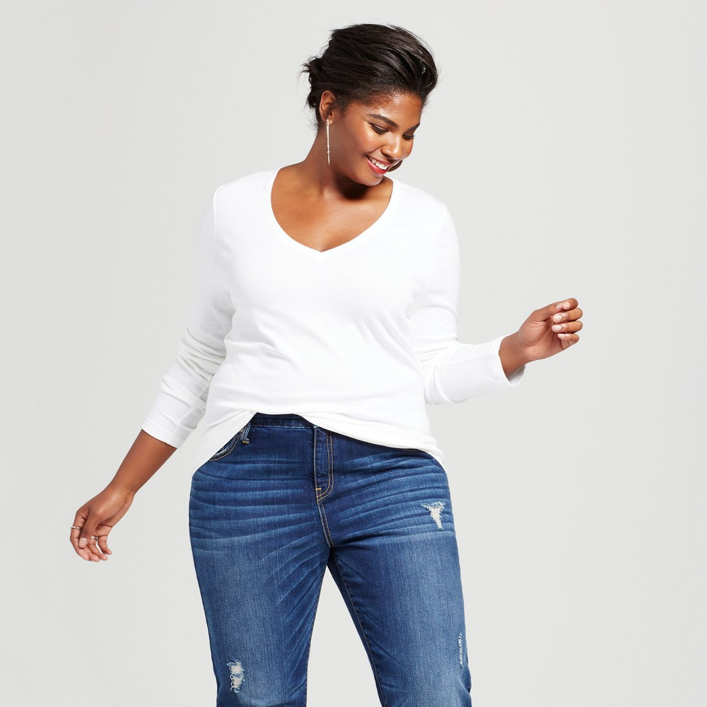 Womens Plus Size Long Sleeve V-Neck T-Shirt - Ava & Viv White 4X