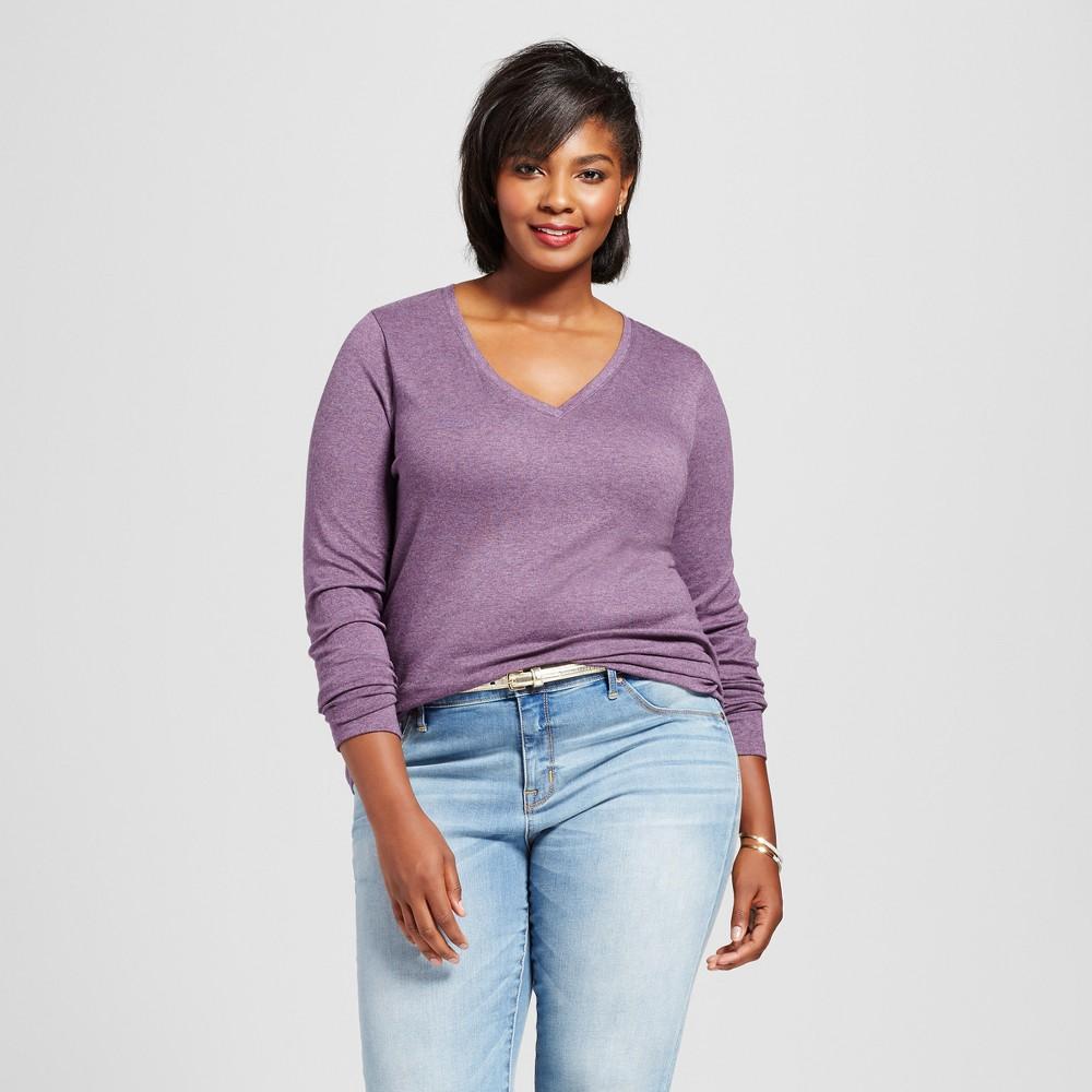 Womens Plus Size Long Sleeve V-Neck T-Shirt - Ava & Viv Purple Heather 4X