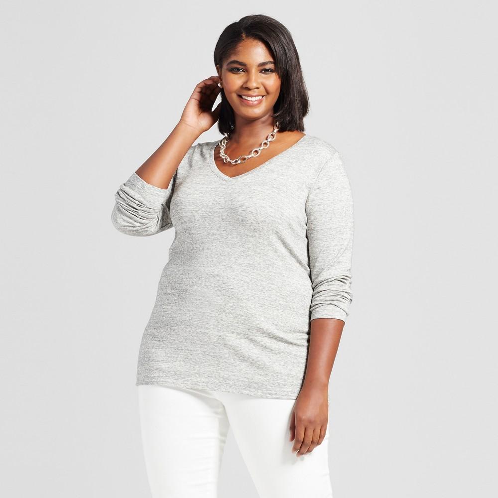 Womens Plus Size Long Sleeve V-Neck T-Shirt - Ava & Viv Heather Gray 4X