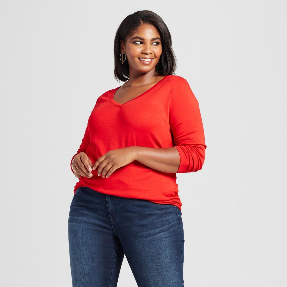 Womens Plus Size Long Sleeve V-Neck T-Shirt - Ava & Viv Ripe Red 1X