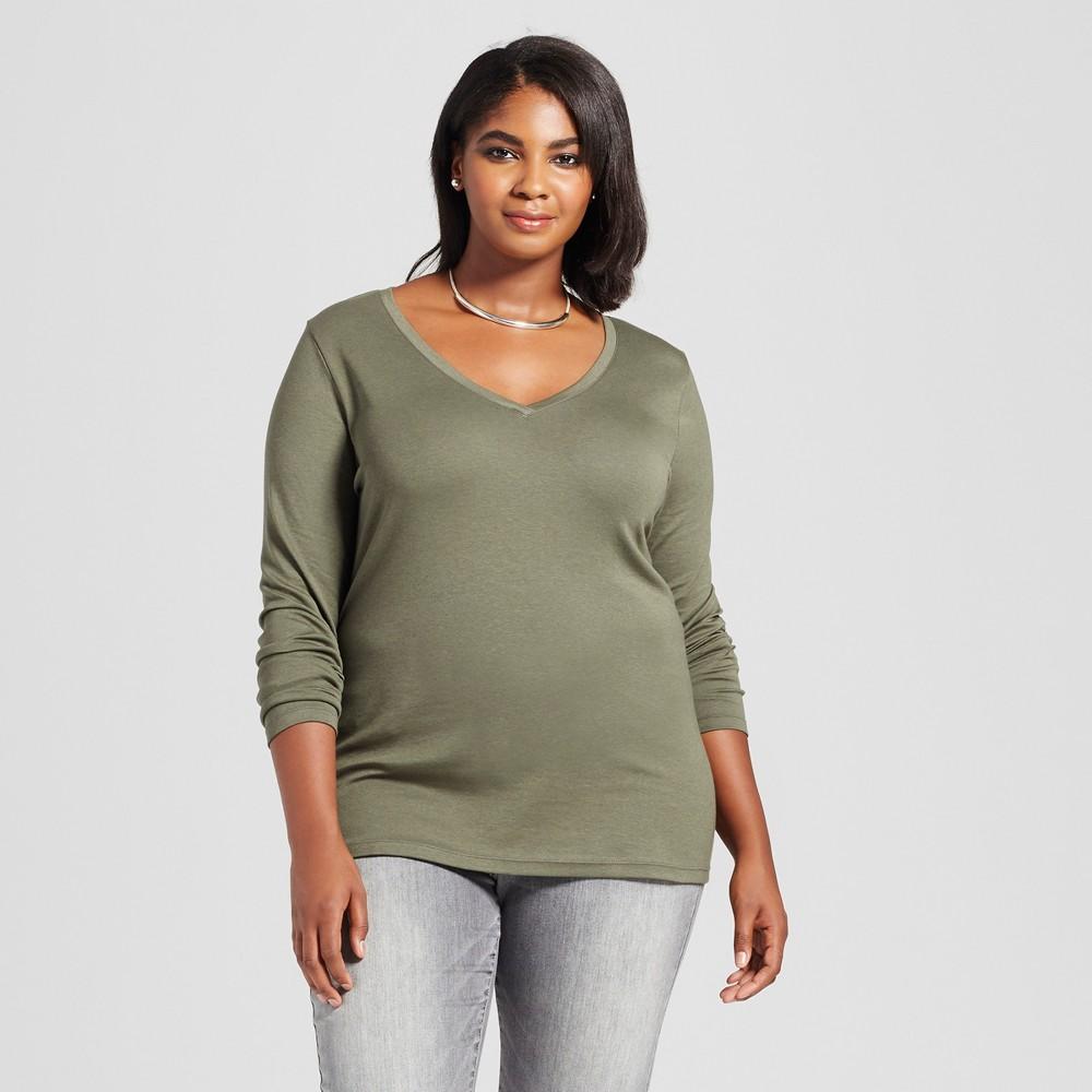 Womens Plus Size Long Sleeve V-Neck T-Shirt - Ava & Viv Olive (Green) 1X