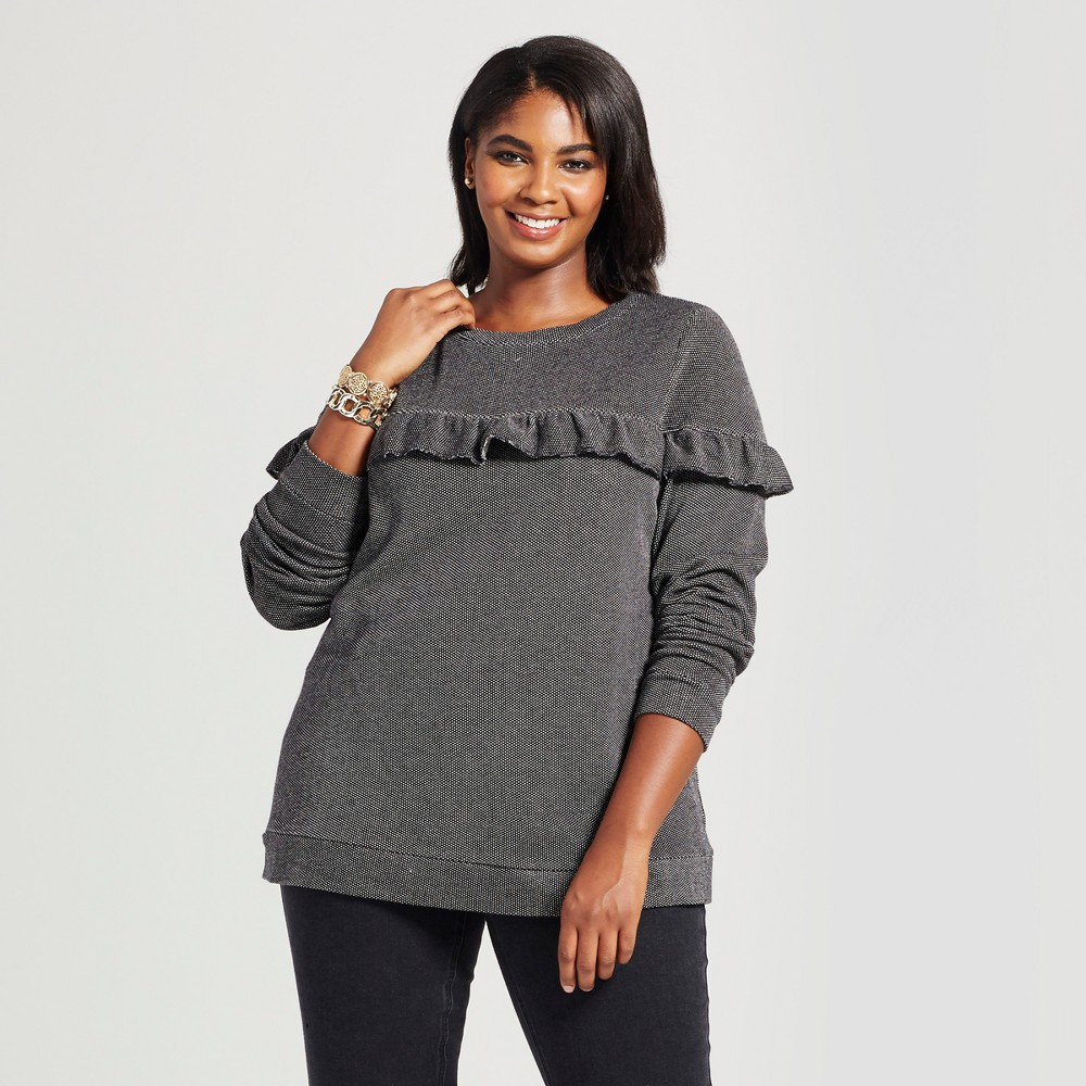 Womens Plus Size Textured Pullover with Ruffle - Ava & Viv Dark Gray 3X