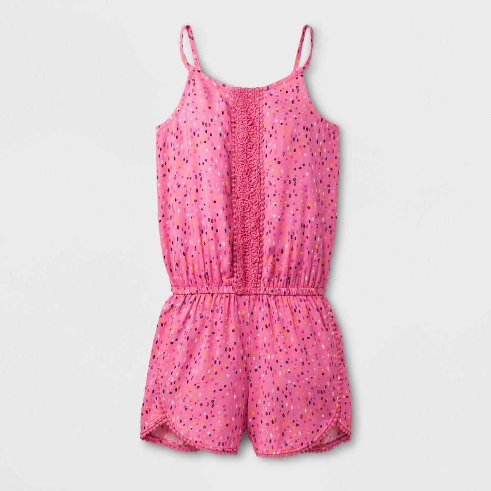 Girls Sleeveless Woven Romper - Cat & Jack Pink L