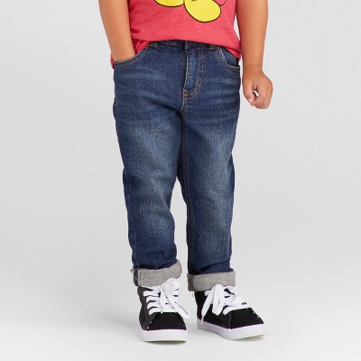 Toddler Boys' Skinny Adjustable Waist Jean Pants - Cat & Jack™ Blue 12M