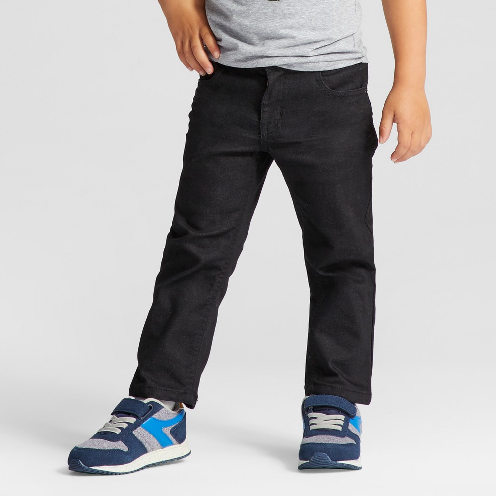 Toddler Boys Straight Adjustable Waist Denim Pants Cat & Jack Black 12M, Size: 12 Months