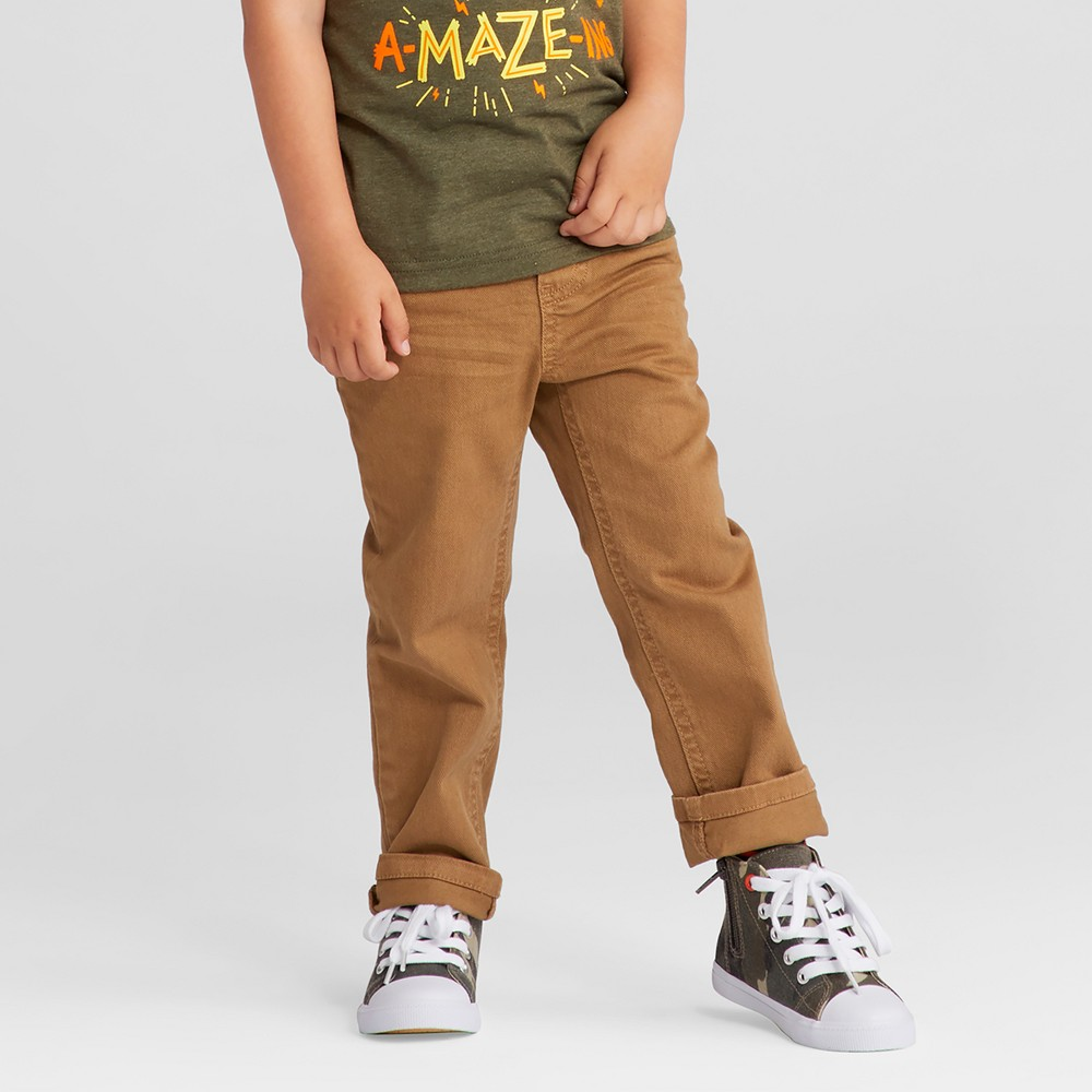 Toddler Boys Straight Fit Rib Waist Denim Pants Cat & Jack Khaki 2T, Beige