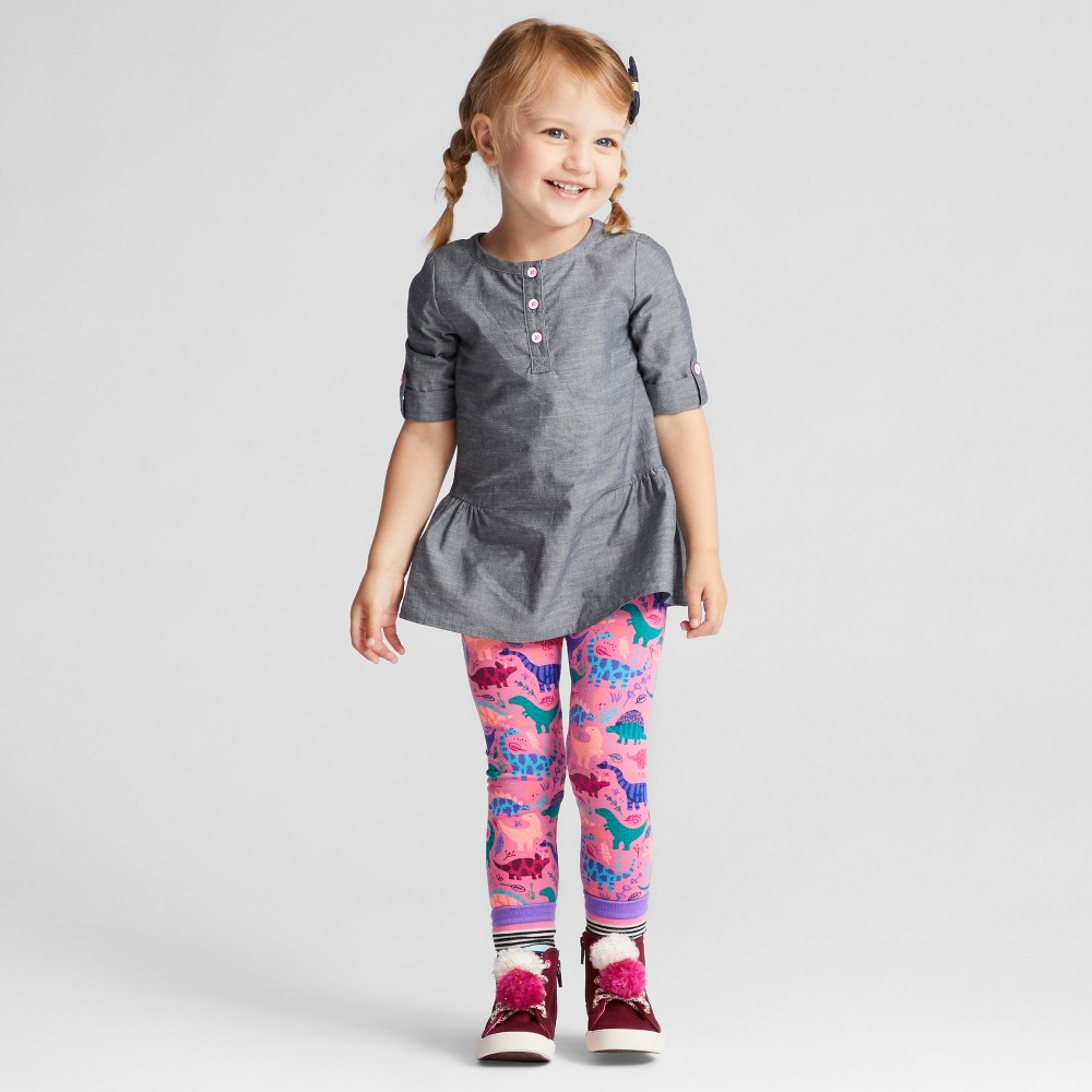 Toddler Girls Top And Bottom Set - Cat & Jack Popsicle Pink 3T, Yellow