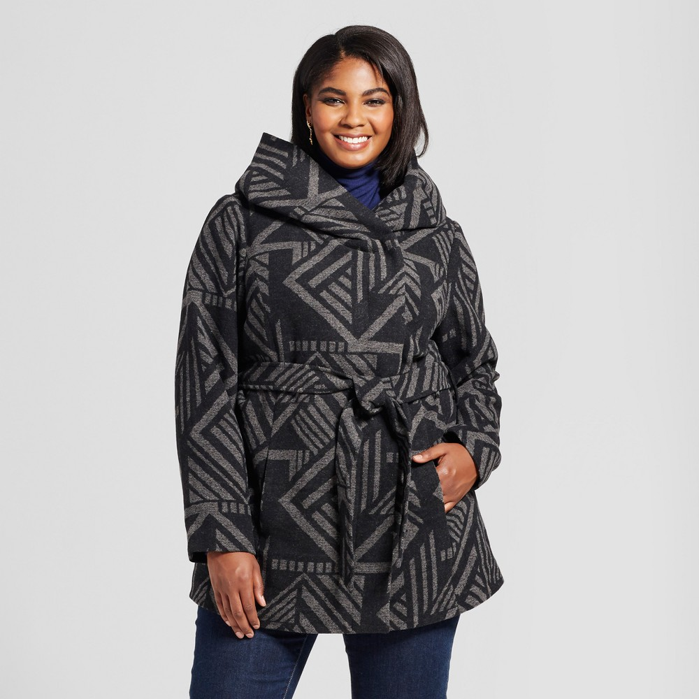Plus Size Womens Plus Faux Wool Wrap - Ava & Viv Charcoal 4X, Gray