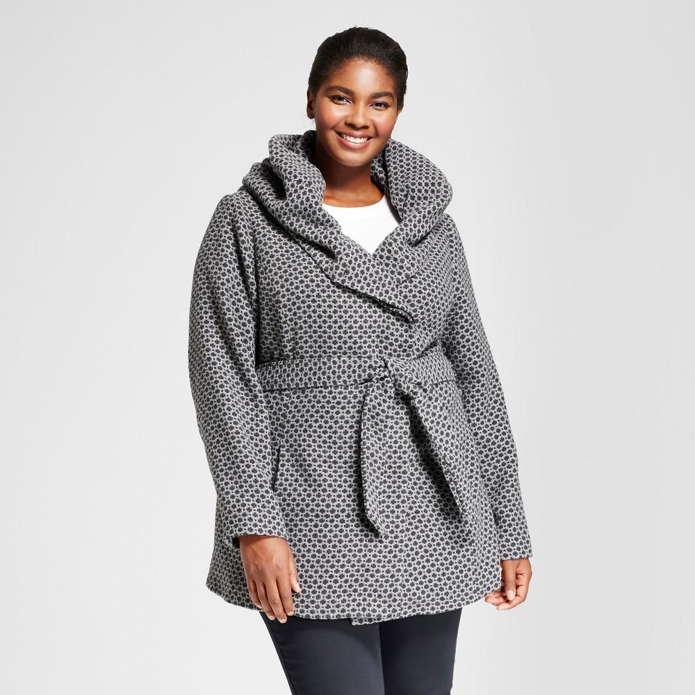 Plus Size Womens Plus Faux Wool Wrap - Ava & Viv Tweed 4X, Gray