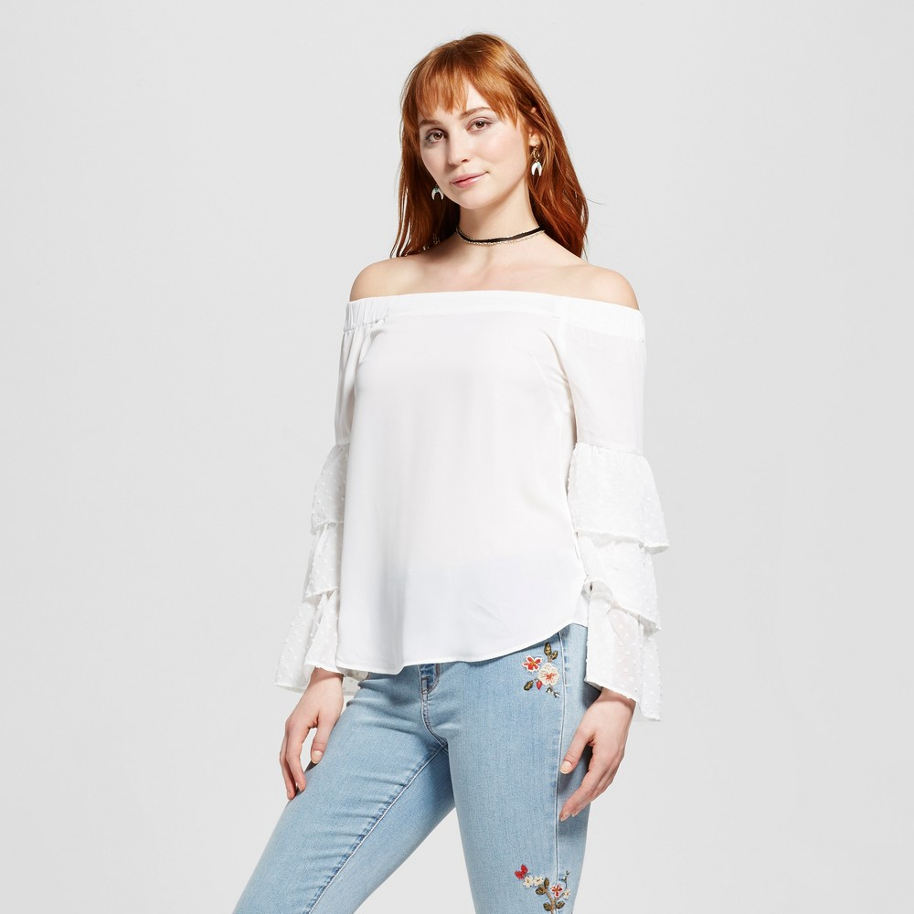 Womens Ruffle Sleeve Off the Shoulder Blouse - Layered with Love White S