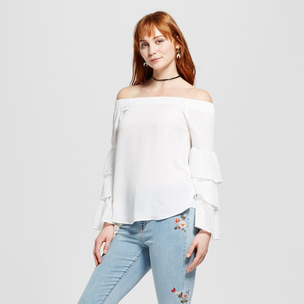 Womens Ruffle Sleeve Off the Shoulder Blouse - Layered with Love White L