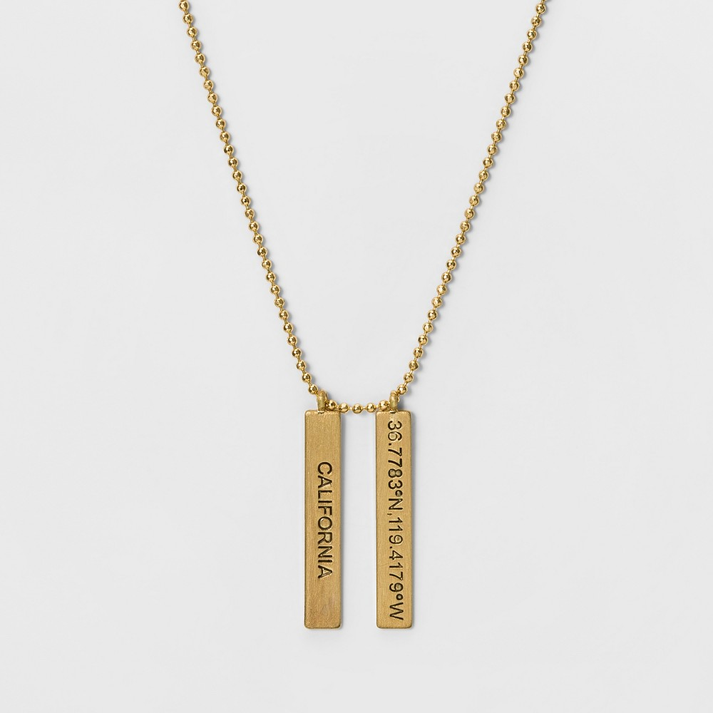 Womens Necklace with State Coordinates California - Gold