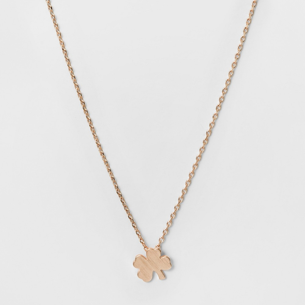Womens Necklace Four Leaf Clover Pendant - Rose Gold