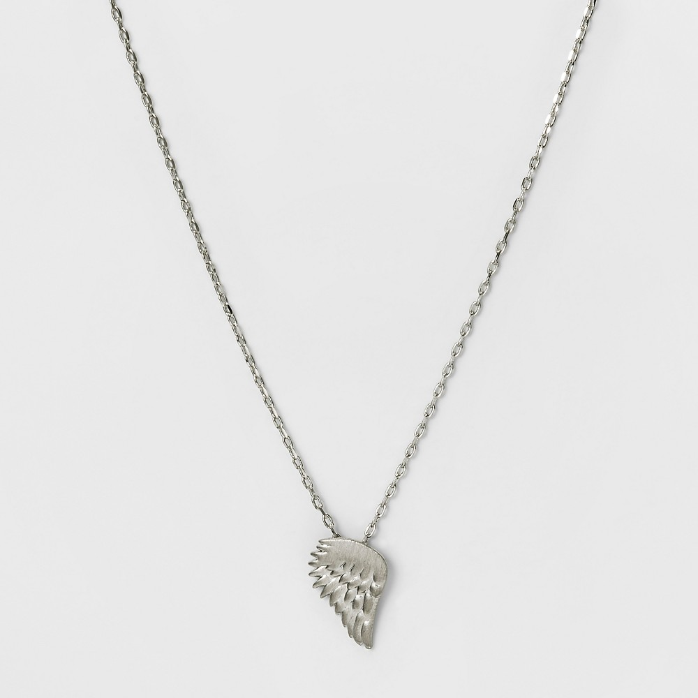 Womens Necklace with Metal Open Wing Pendant - Rhodium, Silver