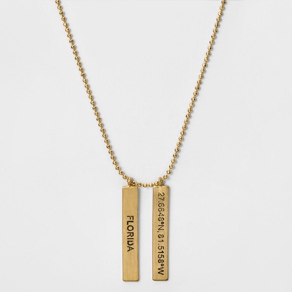 Womens Necklace with State Coordinates Florida - Gold