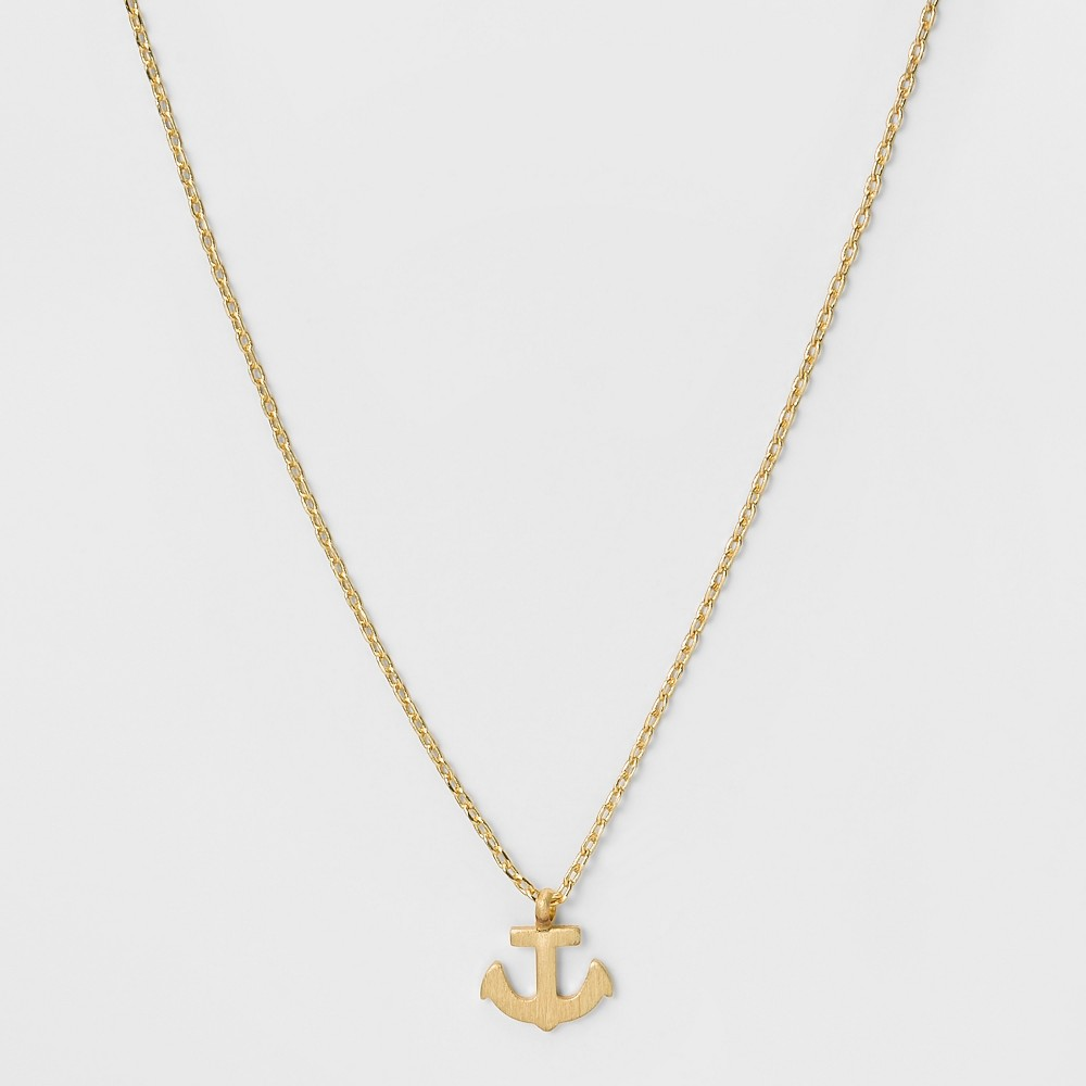 Womens Necklace with Metal Anchor Pendant - Gold