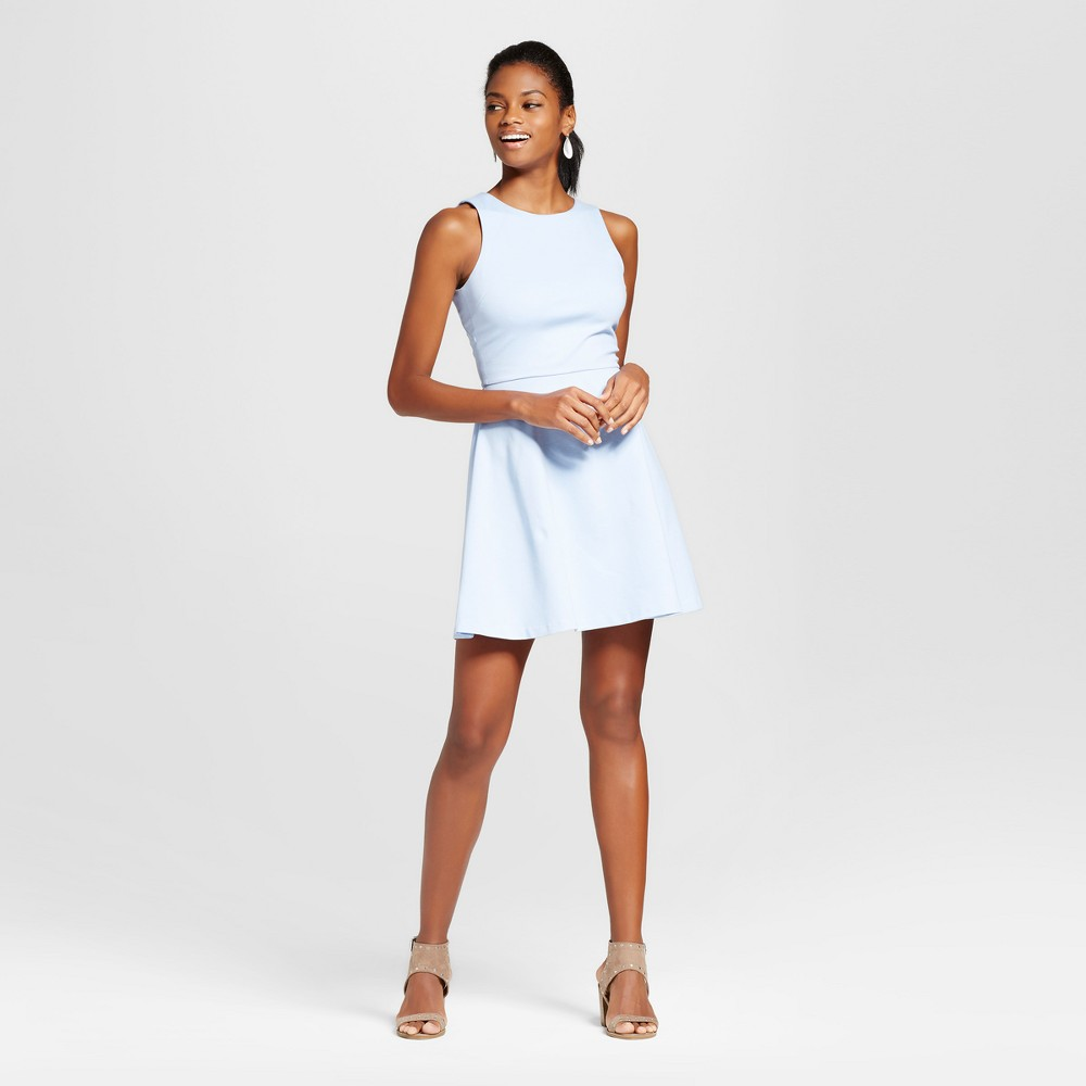 Womens Ponte Scoop Neck Fit N Flare Dress - Necessary Objects Ice Blue L