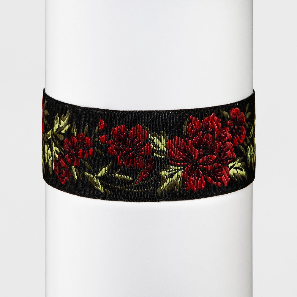 Womens Choker with Embroidered Rose Trim, Multi-Colored