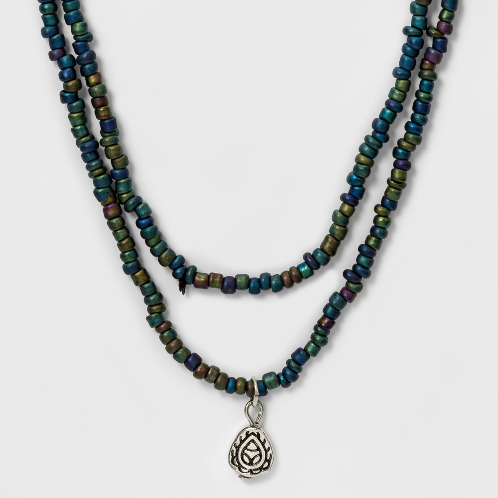 Womens Wrap necklace with Beads and Charm, Multi-Colored
