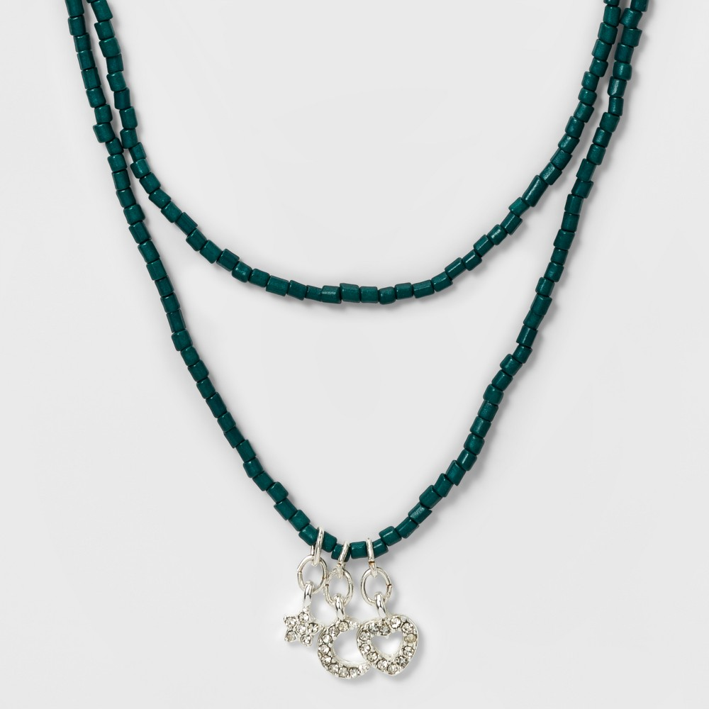 Womens Wrap Choker Beaded with Star and Moon Charm - Green, Multi-Colored