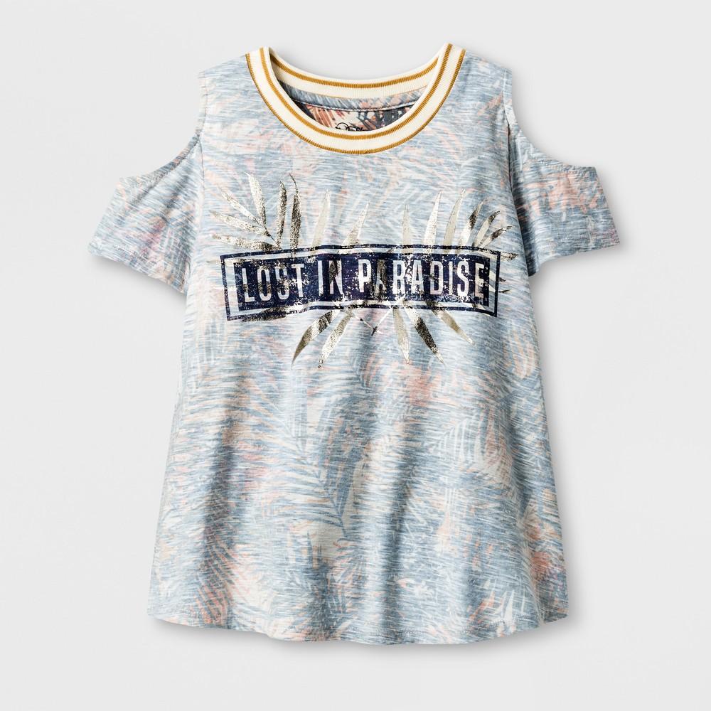 Girls Short Sleeve Cold Shoulder T-Shirt - Art Class Ivory S, White